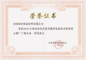 荣誉证书(推广十强企业2011)